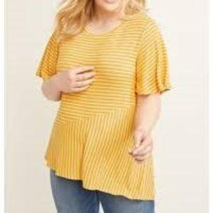 Lane Bryant Yellow White Striped Shirt Plus 22/24